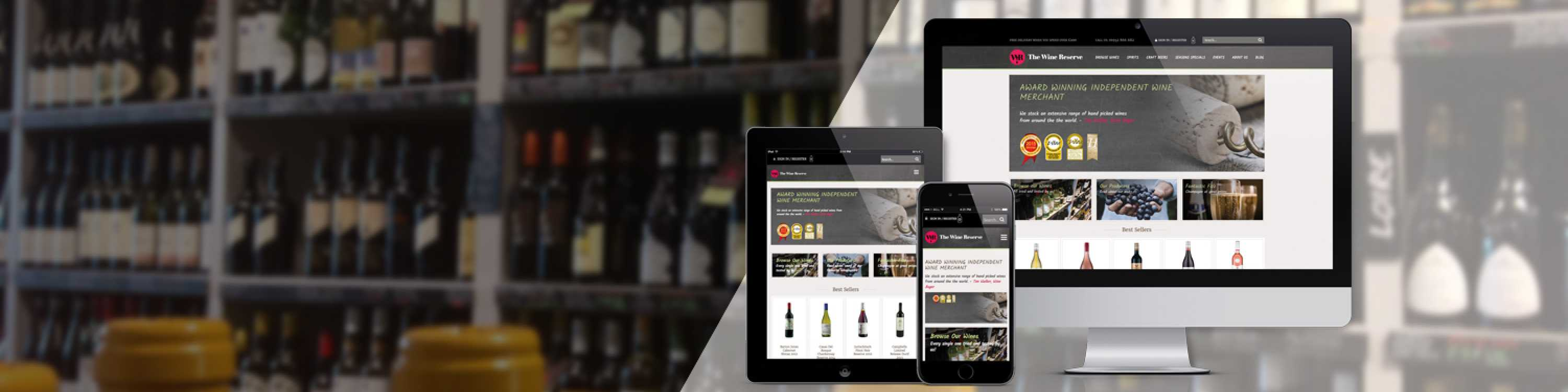 The Wine Reserve shop with mobile and desktop display shown
