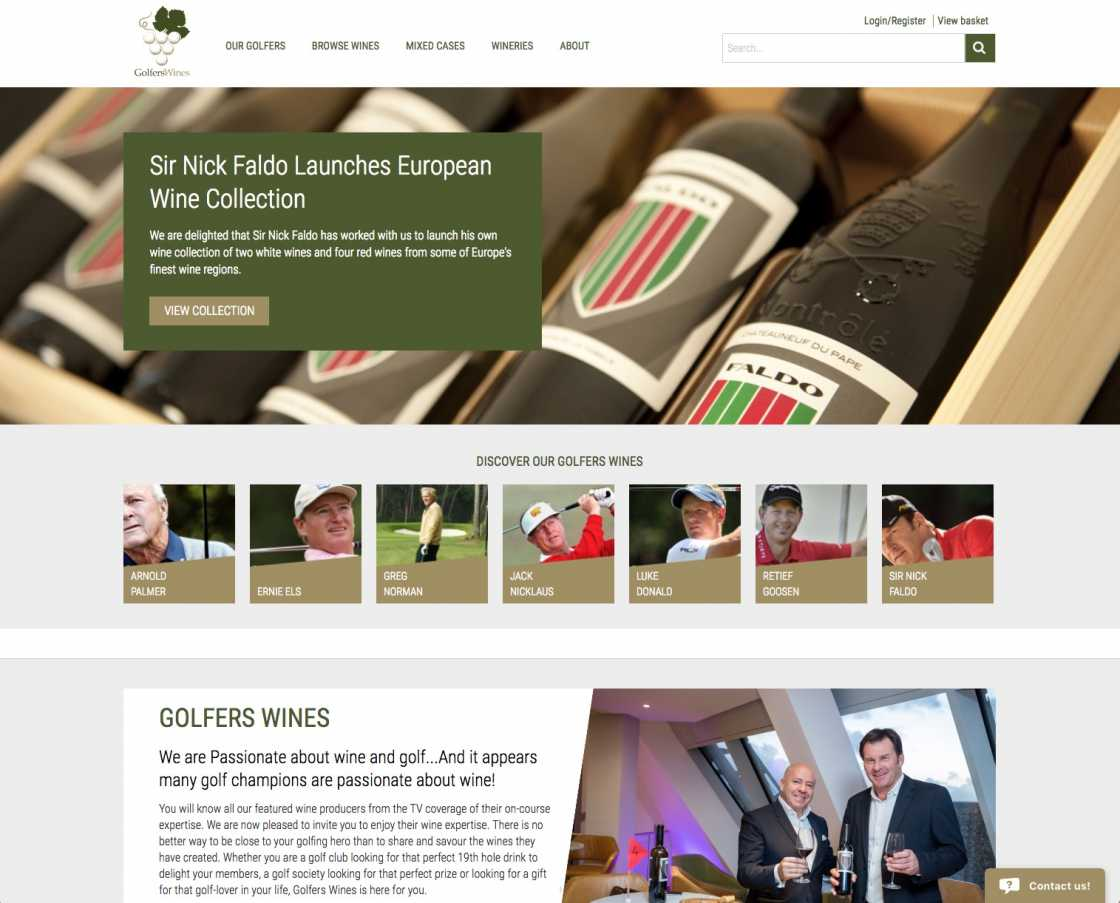 Golfers Wine Website Home page