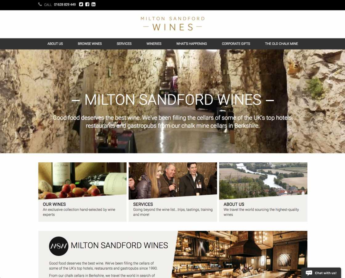 Milton Sandford Wines website home page