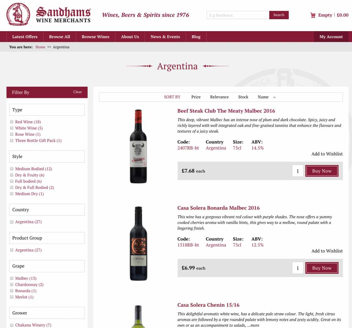 Sandhams wine category page