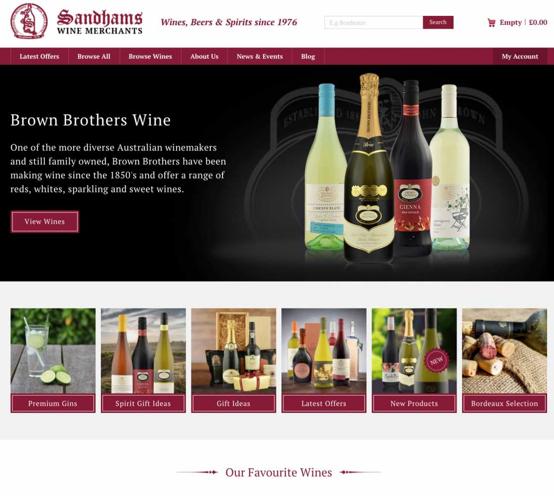 Sandhams wine homepage