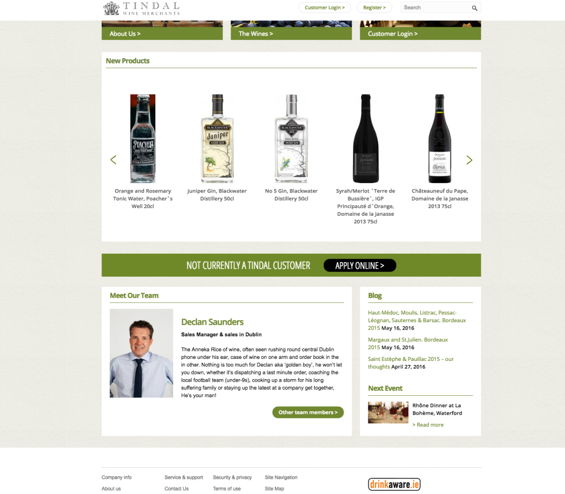 Tindal Wines Homepage Footer