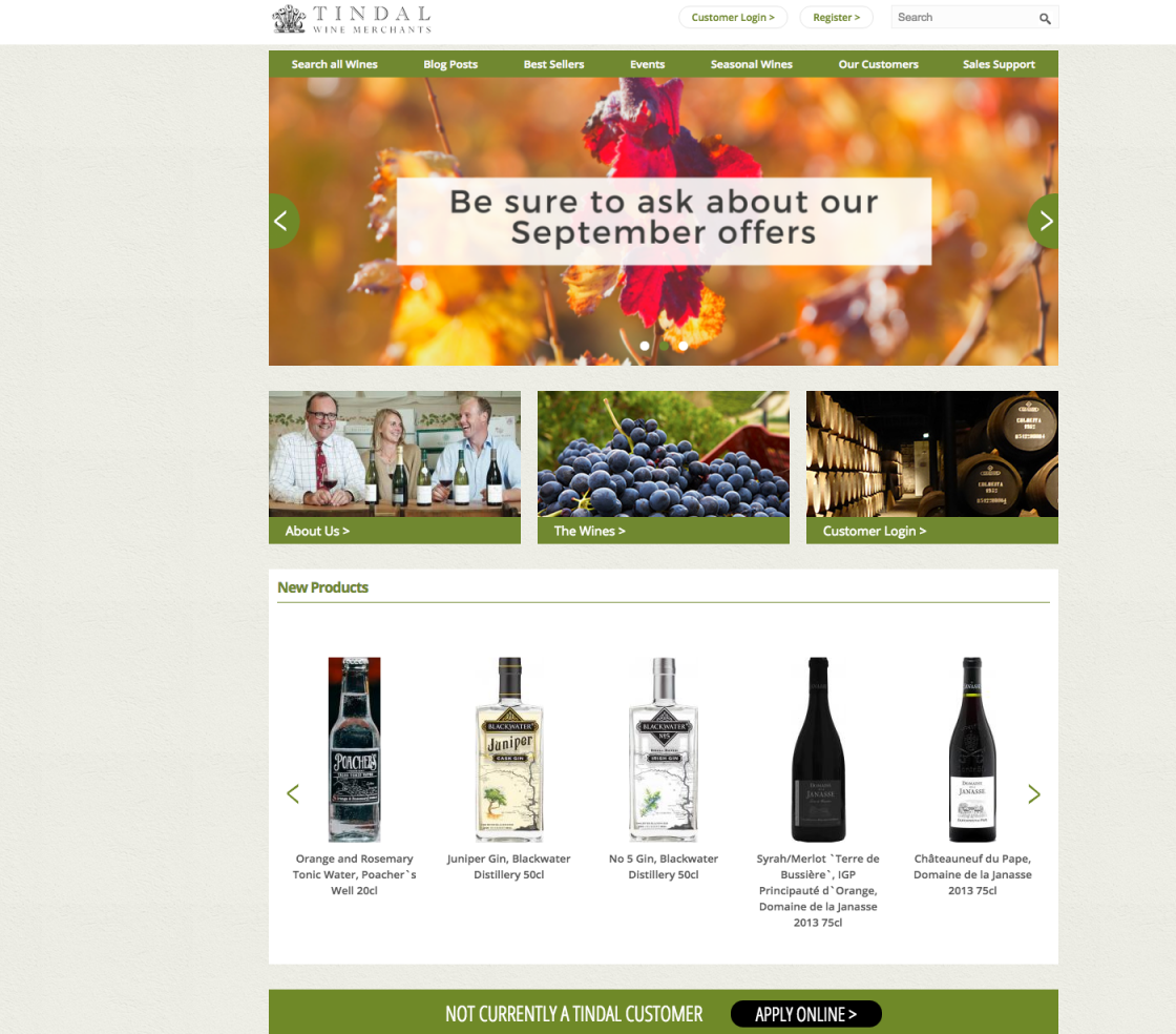 Tindal Wine Merchants Homepage