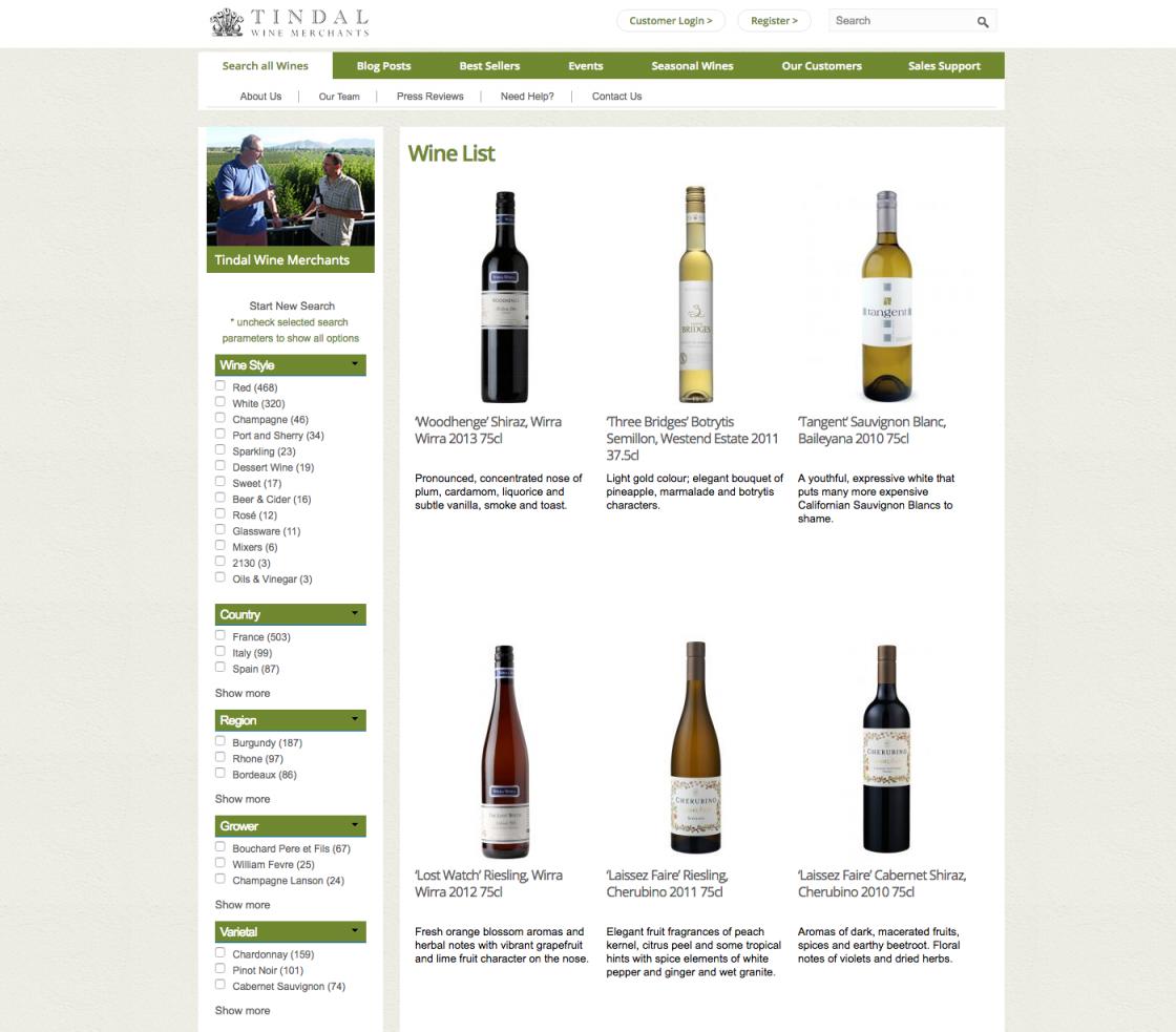Tindal WInes Wine List