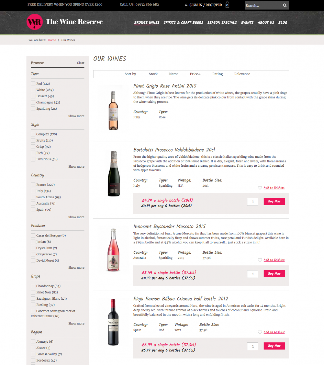 twr Browse Wines page