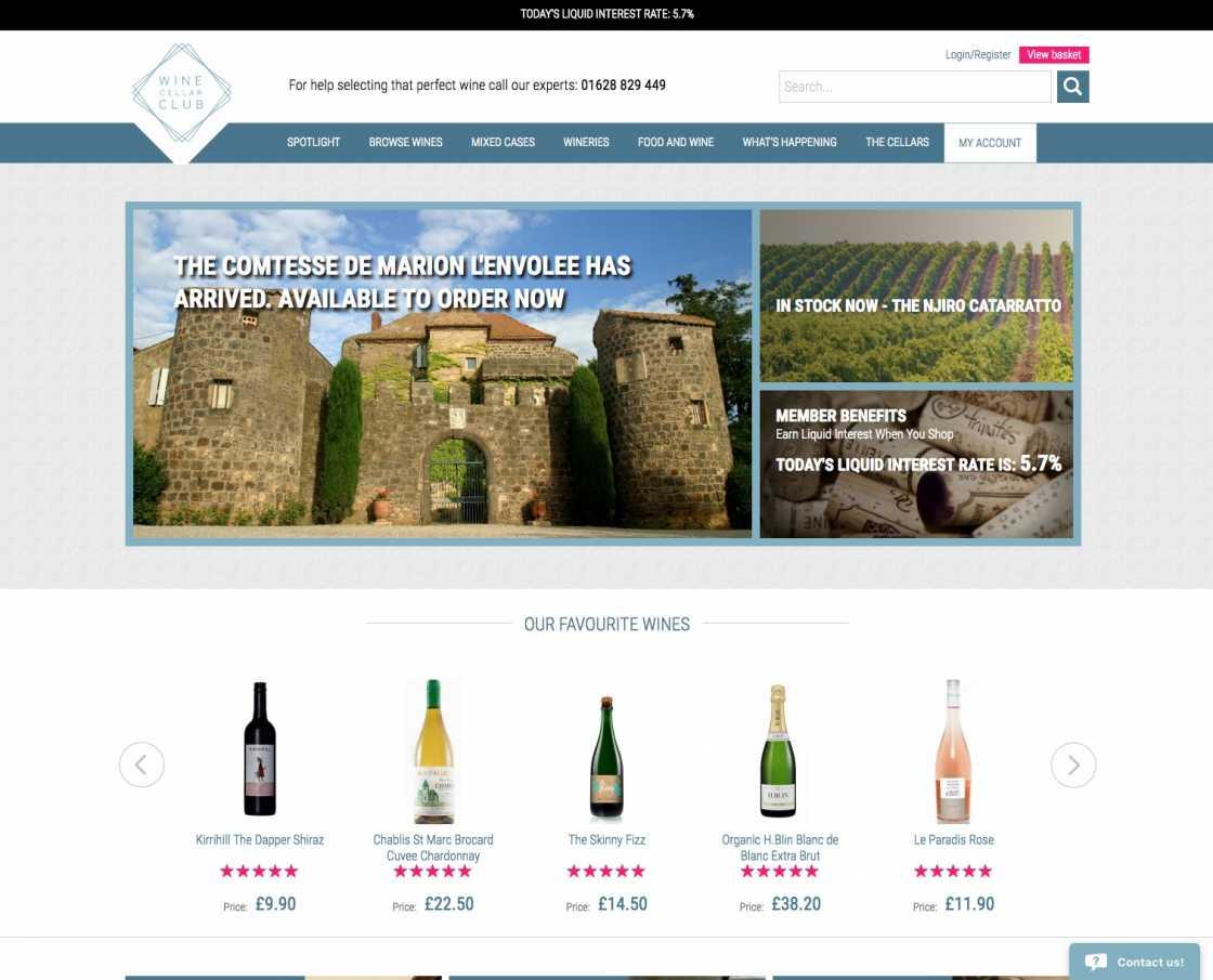 Wine Cellar Club website home page