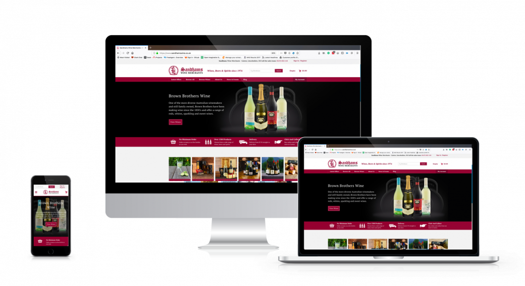 Sandham Wine Merchants website